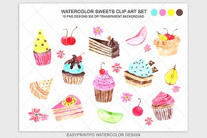 Watercolor Cupcake Sweets Clip Art