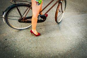 Woman in a bike