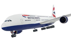 Airbus A380 British Airways low poly