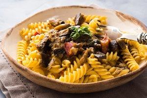 Fusilli pasta with eggplant sauce