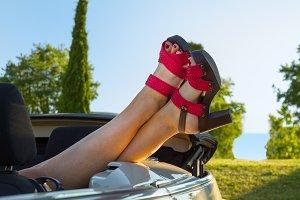 Woman in cabriolet