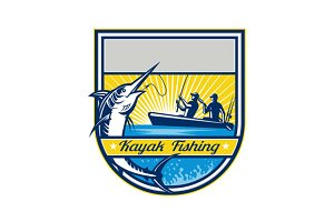 Kayak Fishing Blue Marlin Badge