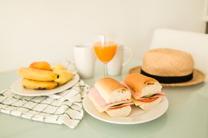 tasty sandwich and juice breakfast