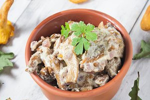 Chanterelles mushroom with cream