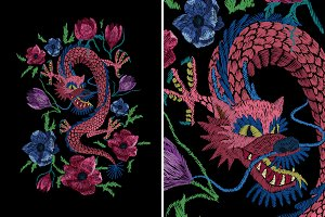 Eastern Chinese dragon and flowers