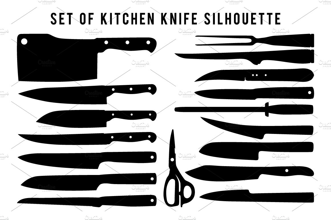 Set Of Kitchen Knife Silhouette Graphic Objects