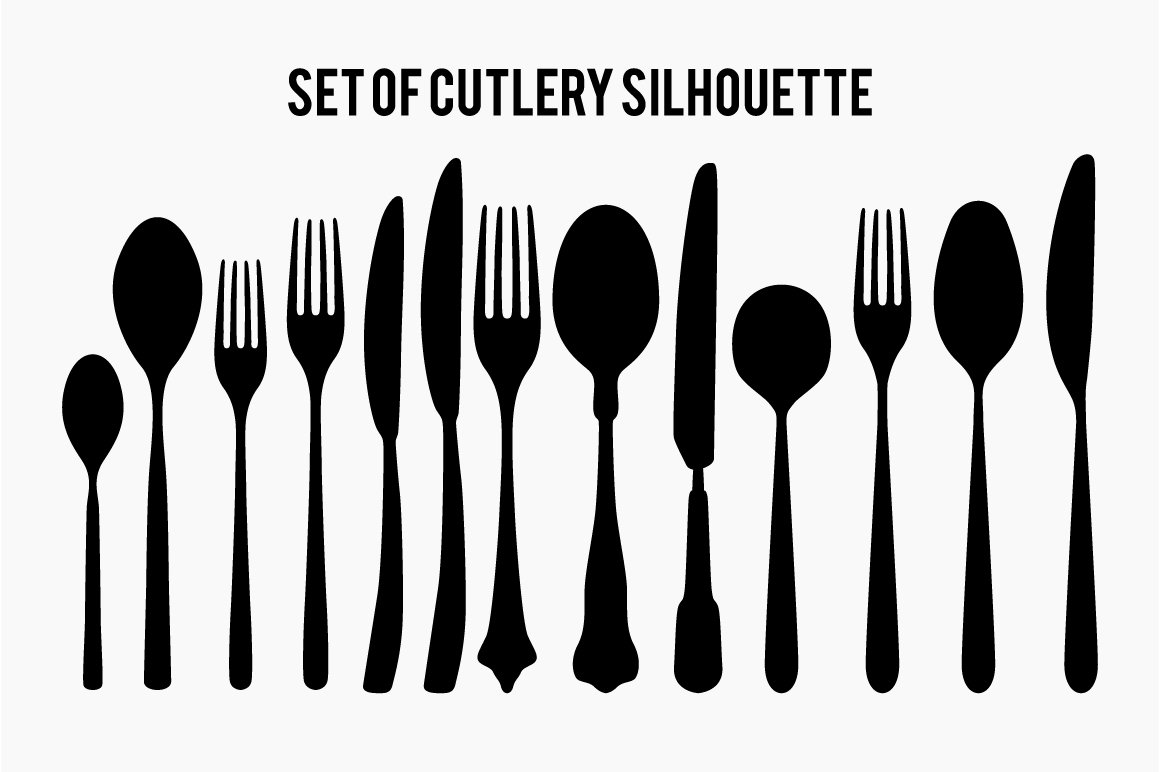 Set of Cutlery silhouette vector ~ Objects ~ Creative Market