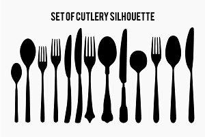 Set of Cutlery silhouette vector