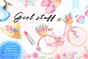 Watercolor Clipart - Girl Stuff