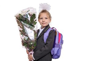 First grader with a bouquet of flowers