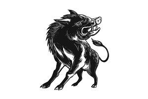 Angry Wild Hog Razorback