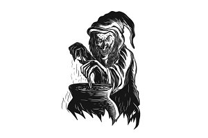 Witch Stirring Brew Pot Scratchboard