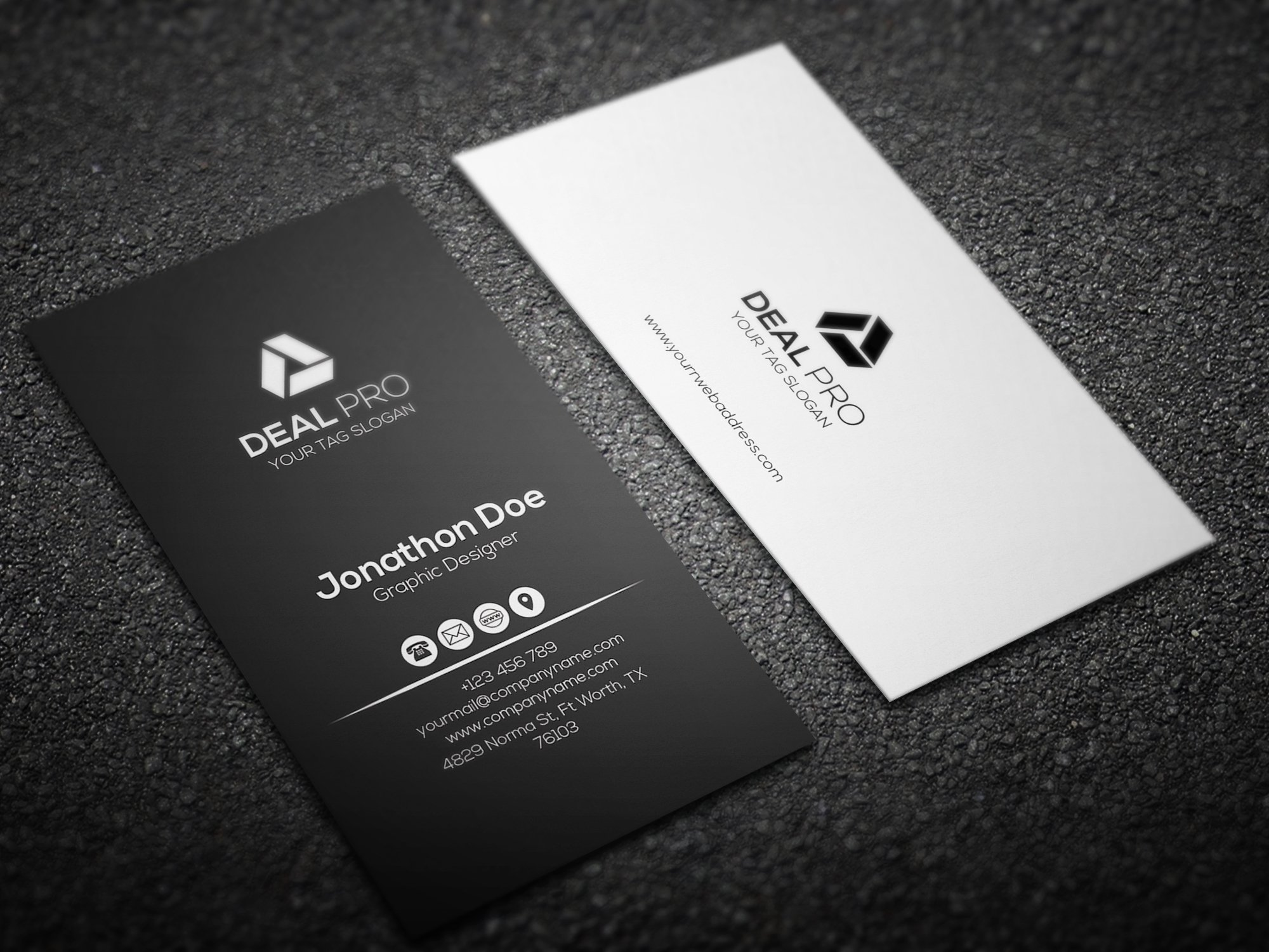 Vertical Elegant Business Card ~ Business Card Templates ~ Creative ...