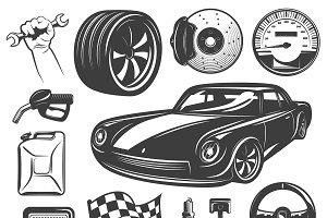 Car Repair Garage Icon Set