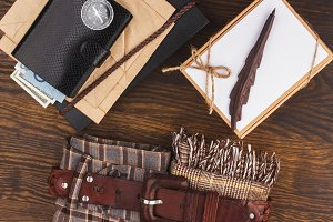 Different things for travel on the light wooden background