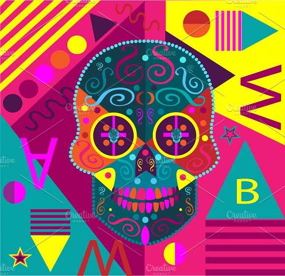 Colorful Skull Vector