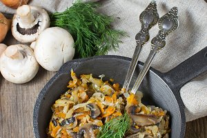 Stewed cabbage with mushrooms and ca