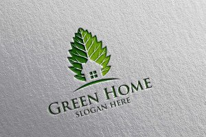 Green Home, Real estate Logo design