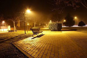 Park bench in the night