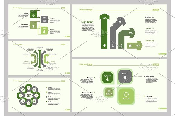Five Business Slide Templates Set in Textures
