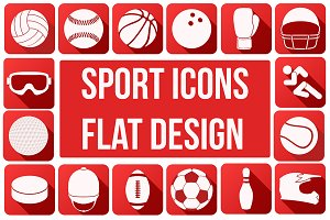 Popular Sport Icons in Flat Style