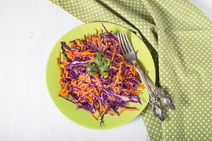 Coleslaw salad with red cabbage and