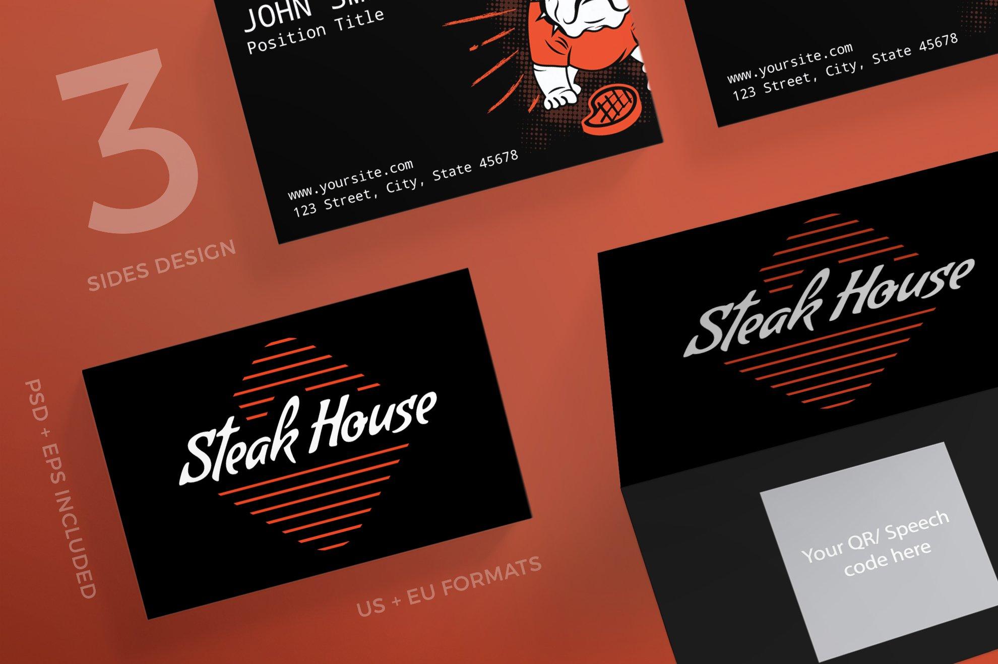 Business Cards | Steak House ~ Business Card Templates ~ Creative Market