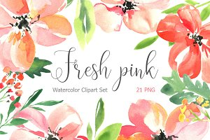 Fresh pink watercolor flowers set