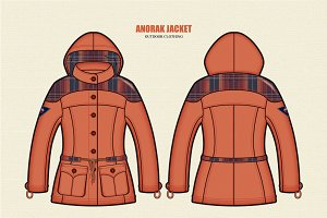 Women Outdoor Anorak Jacket Vector
