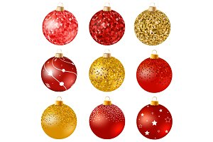 Realistic Christmas balls, red gold