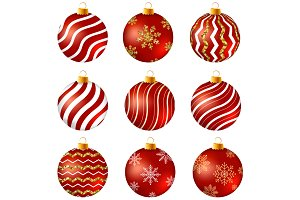 Red and gold Christmas baubles
