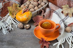 Autumn still life with cup of tea
