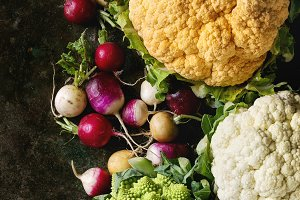 Variety of cauliflower and radish
