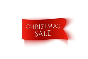 Christmas Sale, red realistic paper banner.