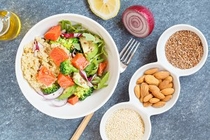 salad with broccoli and fish