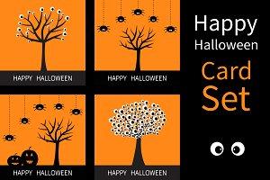 Happy Halloween card set Tree spider