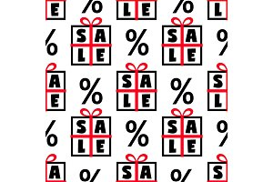 Cute Black Friday sale seamless pattern with gift boxes and discount percent signs in black, red and white colors