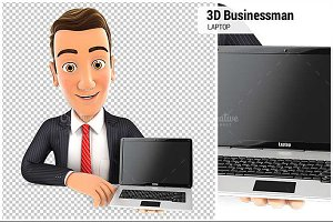 3D Businessman Behind Wall Laptop