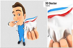 3D Doctor Brushing his Teeth
