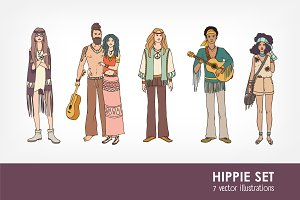 Set of various hippie people