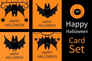 Happy Halloween. Bat spider pumpkin