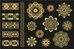 60 vector decorative rosettes+more