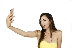 Funny woman takes selfie