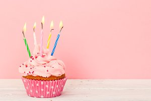 Cupcake with five candles