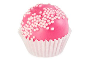 Cake ball in pink glaze