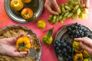 American apple pie, apples in caramel, fruit for Thanksgiving Day