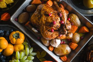 Thanksgiving turkey, vegetables and fruits close-up