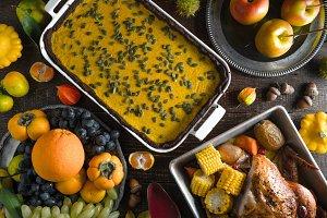 Chocolate pumpkin pie, turkey, vegetables and fruits