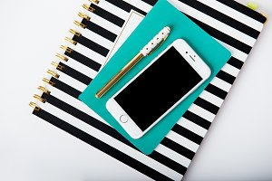 Teal and Black and White Planner