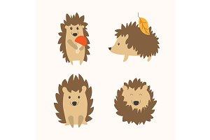 Cartoon Hedgehog Set. Vector